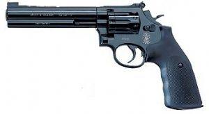 "Smith & Wesson 6"" black Co2 Pistol."