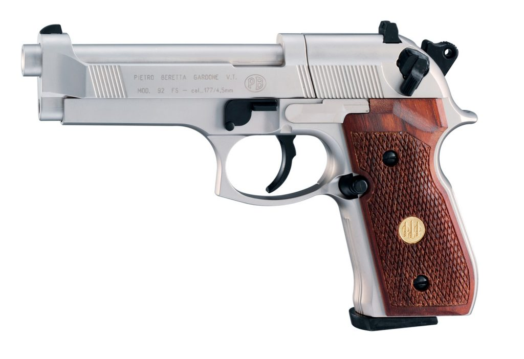 Beretta 92F Nickel with wood grips.